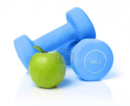Apple and dumbbells