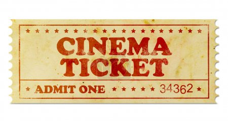 Photo for Cinema vintage ticket isolated on white - Royalty Free Image