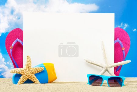 Photo for Message board with copy space on the beach - Royalty Free Image