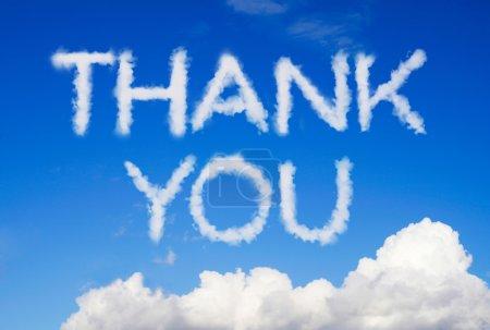 Photo pour Message de remerciement dans le ciel - image libre de droit