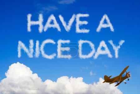 Photo pour Avoir un message bonne journée dans le ciel - image libre de droit