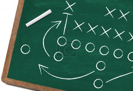 Football strategy on blackboard