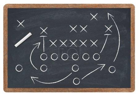 Football strategy on blackboard