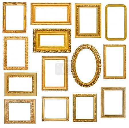 Photo pour Cadres dorés sur fond blanc - image libre de droit