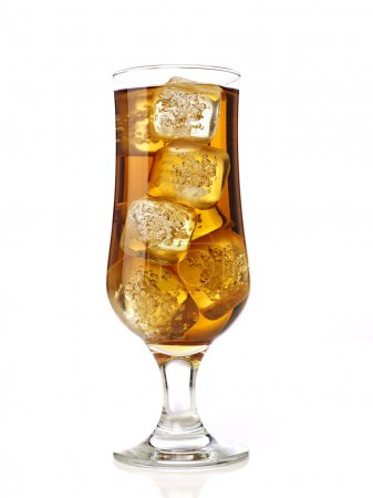 Glass of ice tea with ice cubes, isolated on white...