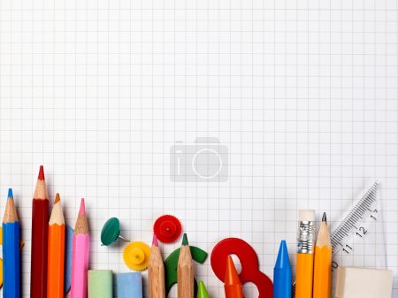 Photo for Notebook and supplies background - Royalty Free Image