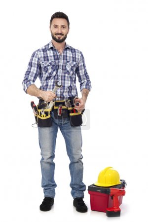 Construction worker with wrench