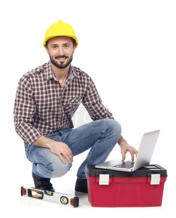 Carpenter with laptop