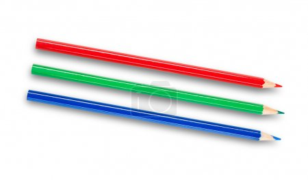 RGB pencils isolated on white