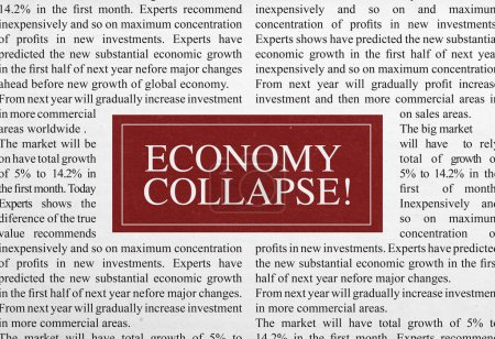 Schlagzeile zum Zusammenbruch der Wirtschaft