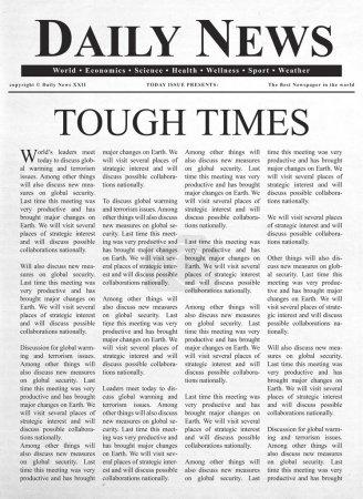 Schlagzeilen über schwierige Zeiten