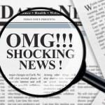 Shocking news headline under magnifying glass...