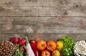 Fresh vegetables on wood table