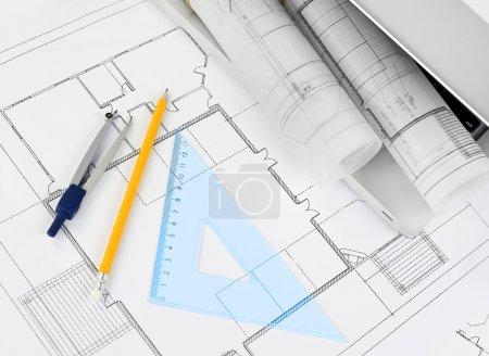 Blueprints project on the desk