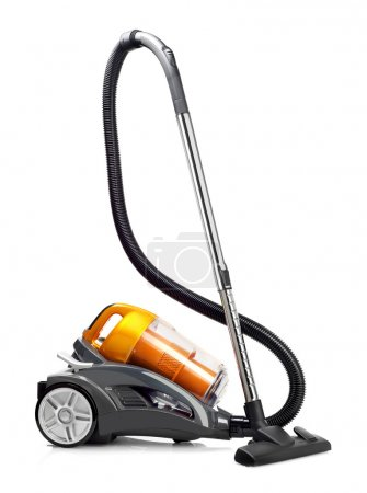 Yellow vacuum cleaner isolated on white...