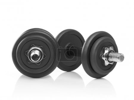 Dumbbells on white