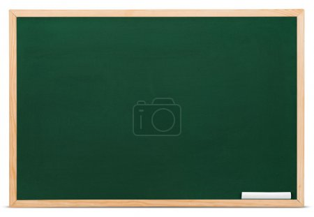 Photo for Blank green blackboard with chalk isolated on white - Royalty Free Image
