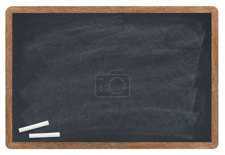 Photo for Blank blackboard with chalk isolated on white - Royalty Free Image