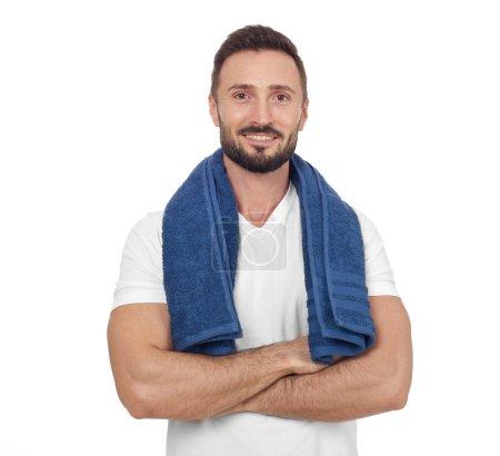 Confident sportsman on white