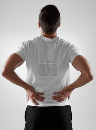 Backache, white background
