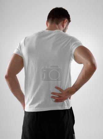 Backache, gray background