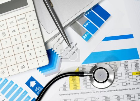 Healthcare review and stethoscope