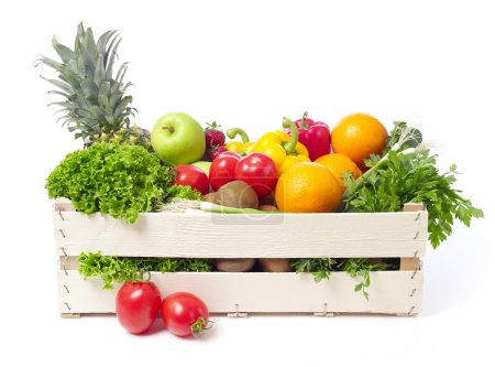 Photo for Fruits and vegetables in a wooden crate isolated on white - Royalty Free Image