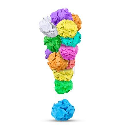Photo pour Boules de papier formant un point d'exclamation, fond blanc - image libre de droit