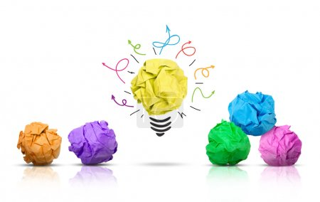Photo for Paper ball forming a lightbulb with other multi-colored paper balls around, white background - Royalty Free Image