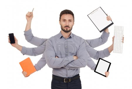 Multi-tasking man isolated