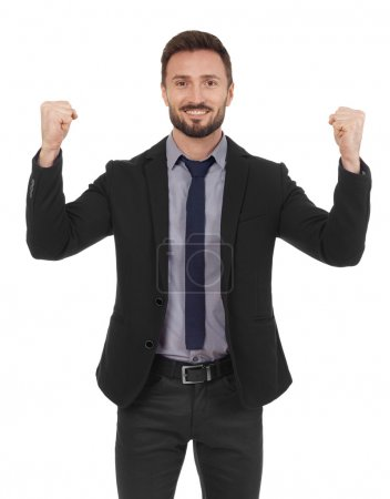 Cheerful businessman celebrating