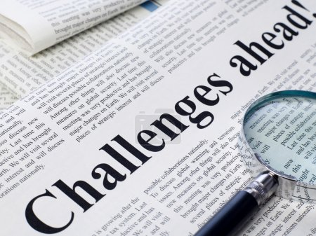 Photo for Challenges ahead headline on newspaper - Royalty Free Image