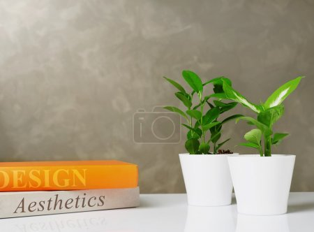 Books and plants on desk