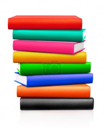 Multi-colored stack of books, white background...