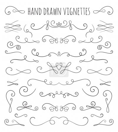 Illustration for Set of hand drawn vignettes in retro style. Elegant vintage calligraphic borders and dividers for greeting card, retro party, wedding invitation. Vector illustration. - Royalty Free Image