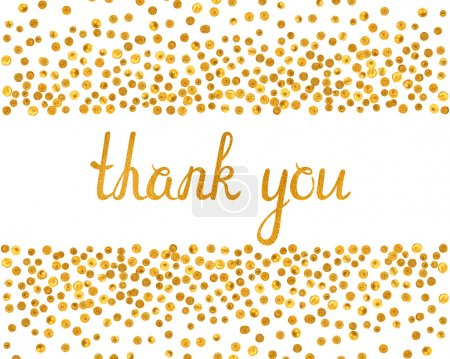 Illustration for Thank you inscription with falling golden dots on white background. Handwritten letters with gold texture. You can use it for invitation, flyer, postcard, greeting card, banner. Vector illustration. - Royalty Free Image