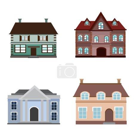 Illustration pour Ensemble d'icônes de couleur de grands bâtiments. Vecteur 10eps bâtiments anciens décoratifs . - image libre de droit