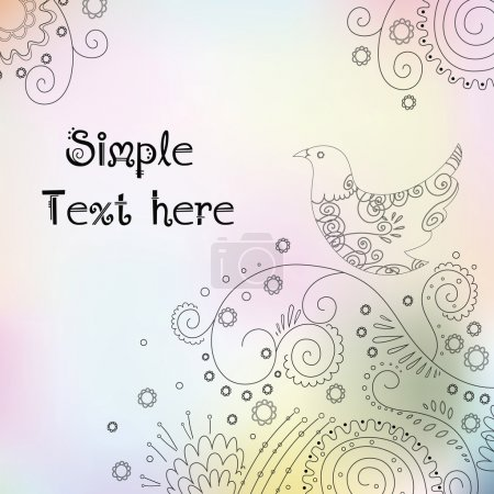 Cute floral composition with space for text. Spring vector backg