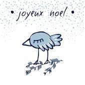 Hand Sketched Christmas Greeting Card With Cute Sleepy Bird Joyeux Noel Winter Vector Illustration