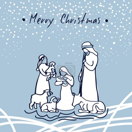 Hand Sketched Vector Greeting Card. Christmas Nativity Scene With Holy Family. Merry Christmas
