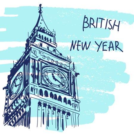 New Year Vector Illustration. World Famous Landmarck Series: Big Ben, London, England. British New Year.