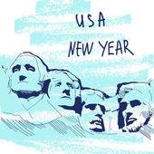 New Year Vector Illustration World Famous Landmarck Series: USA Mount Rushmore Six Grandfathers USA New Year