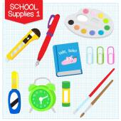 A picture of school supplies isolated in white