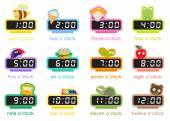 12 colorful digital clocks