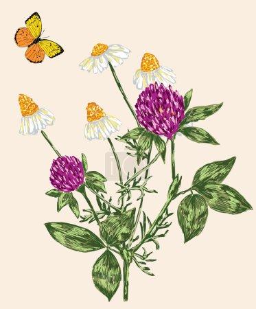 Illustration pour Image vectorielle d'un nosegay et d'un papillon volant . - image libre de droit
