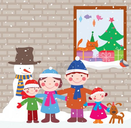 Illustration for Vector image of the cheerful christmas card. - Royalty Free Image