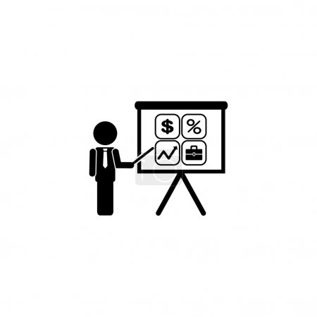 Presentation manager screen and Icons set: dollar, percent, briefcase, curve