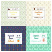 Linear design templates for most popular soap recipes: coconut milk peppermint citrus and coffee With their symbols: fruit nut candy bean