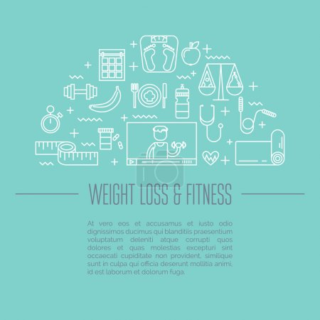Modern line style concept of healthy lifestyle, online personal training.