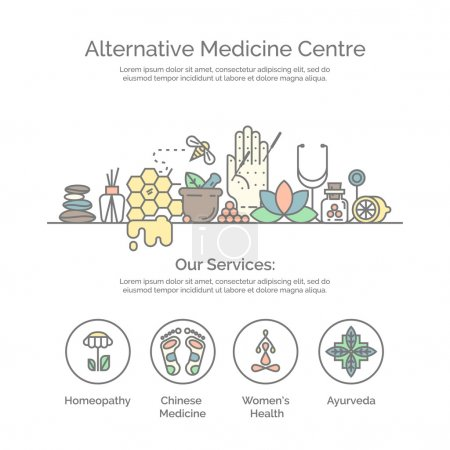 Illustration for Modern linear style. Holistic center, naturopathic medicine, homeopathy, acupuncture, ayurveda, chinese medicine, womans health. For web site, print design, business card. - Royalty Free Image